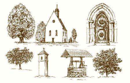 Rural country church. Hand drawn set.