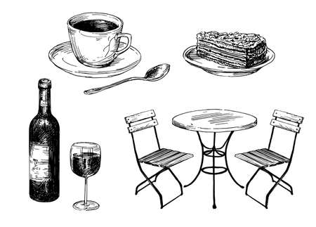 Old fashioned cafe furniture, coffee and cake. Ilustrace