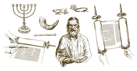 Jewish man reading torah, jewish symbols. Hand drawn set.  イラスト・ベクター素材