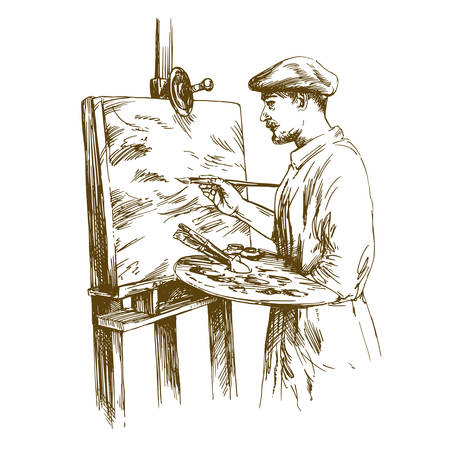 Artist standing at the easel and painting. Vector illustration isolated.
