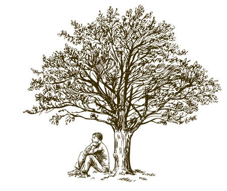 Man sitting under tree. Hand drawn illustration.