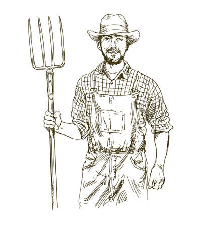Farmer with fork. Hand drawn illustration.  イラスト・ベクター素材