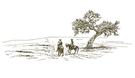 Cowboys riding a horse near a tree. Hand drawn illustration. 矢量图像