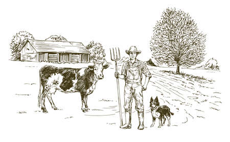 Farmer working at farm. Hand drawn illustration.