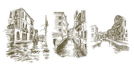 Traditional Venice Cityscape, hand drawn set. Vettoriali