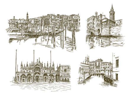 Traditional Venice Cityscape, hand drawn set.