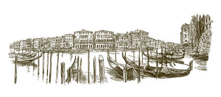 Traditional Venice Cityscape, hand drawn set.