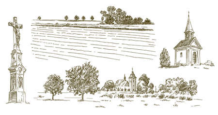 Rural village landscape, field and meadow, hand drawn set. Ilustrace