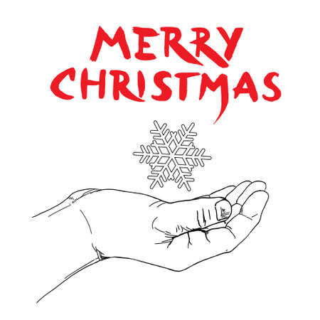 Christmas card, hand drawn illustration.