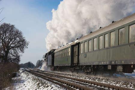 waggon: historic steam train in winter, Germany near Augsburg Stock Photo