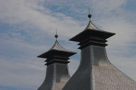 kilns, the pagoda-roof of the peat-fire in a scottish Whisky-distillery