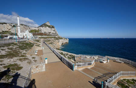 Gibraltar, the peninsula, Europa Point with Monkey Rock and Ibrahim-al-Ibrahim Mosque,