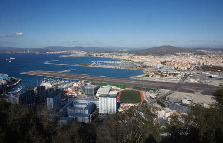 airfield: Gibraltar, view from Upper Rock to the north, airport with runway and the main road