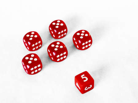 Dice game - Platoon of red fives Stock Photo