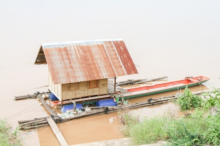 houseboat: Houseboat on river of thailand Stock Photo