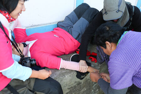 himalaya: inject for first aid AMS in everest himalaya trek Stock Photo
