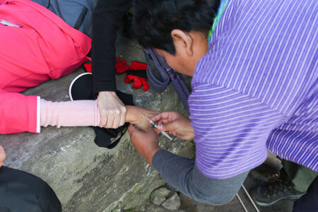 everest: inject for first aid AMS in everest himalaya trek Stock Photo