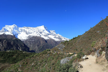 nupla and tartikha peak  from nepal in everest himalaya trek photo