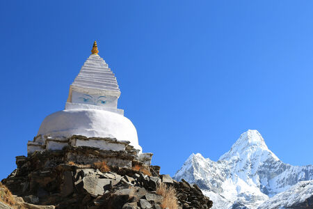 rappel: boudhanath stupa and ama dablam peak from nepal in everest himalaya trek Stock Photo