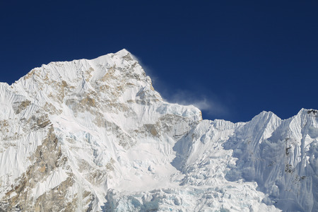 rappel: nupche peak beside of everest from everest trek nepal Stock Photo