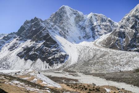 glacier beside of everest basecamp from everest trek nepal photo