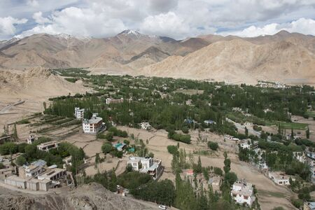 malaya: tree city and moutain malaya background from leh india Stock Photo