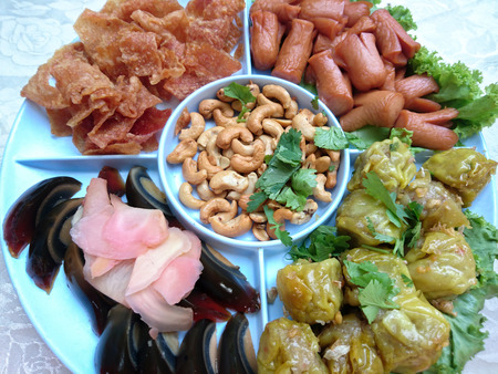 Hors doeuvres 4 kind of food in party chinese style
