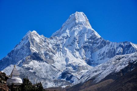 stupa amadablam summit from everest trek Stock Photo