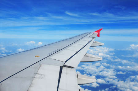 Airplane wing, passenger view Banque d'images