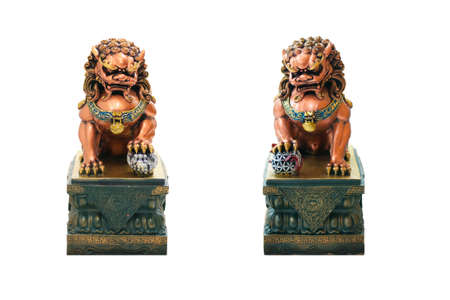 lion figurines: Couple Chinese Lion sculpture Stock Photo