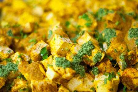 paneer: Indian food  Paneer tikka tawa  Stock Photo