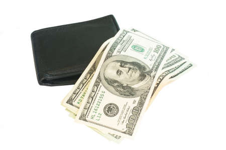 US dollars on a black wallet photo