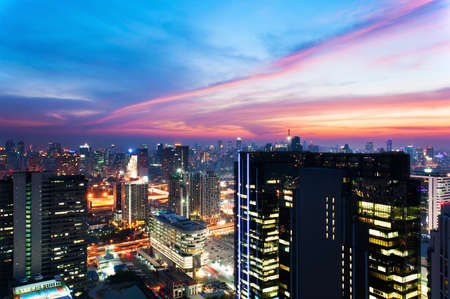 Bangkok City skyline aerial view at sunset in twilight time photo