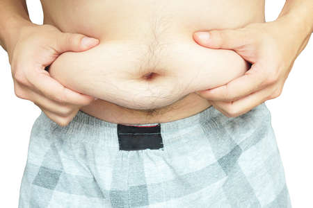 over weight: Fat man with a big belly Stock Photo