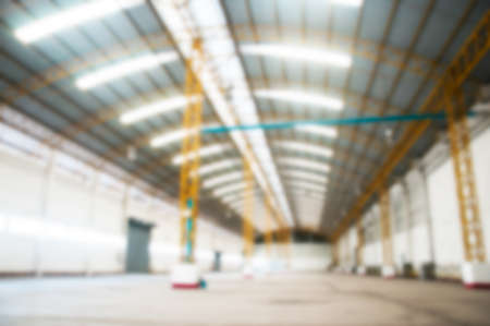 Blurred empty warehouses background