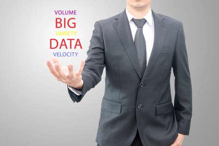 Big data concept man hold Big Data symbol set