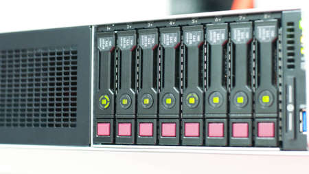 computing machine: Server machine technology and array disk storage in server room
