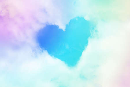 Cloud heart figure shape form in pastel soft color tone Imagens