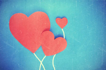 soulmate: Happy Valentines day You Me and arrow on red hearts paper on vintange grunge background Stock Photo