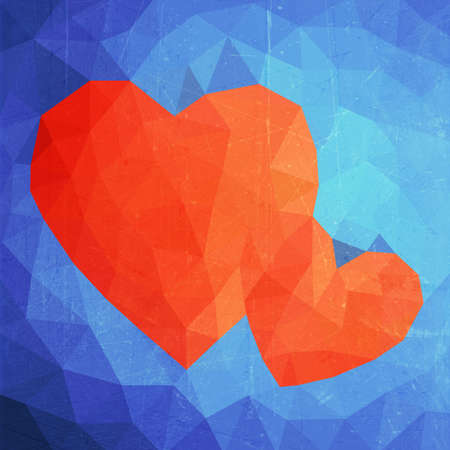 Illustration abstract grunge polygonal heart. Love symbol. Low poly colorful style. Romantic background for Valentines day