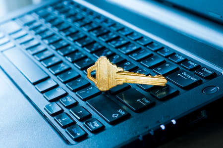 Access key of security in Internet and computer on the laptop , Security and Information technology concept