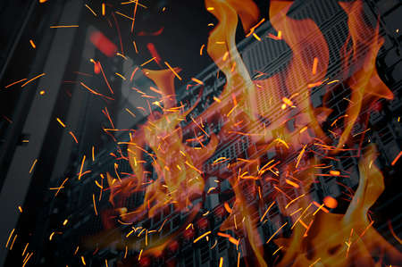 Desastres en la sala de servidores de centros de datos y almacenamiento de fuego ardiendo Foto de archivo