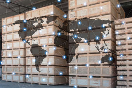 World international map connection connect network with blurred distribution logistic cargo warehouse background, Transportation and business concept, element of this image furnished by NASA 免版税图像