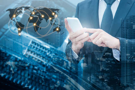 phone professional: Double exposure of professional businessman connecting cloud internet smart phone with servers technology and connect world network in IT Business concept, element of this image furnished by NASA