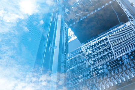 data recovery: Double exposure of cloud and sky with servers computing technology in data center creative cloud concept Stock Photo