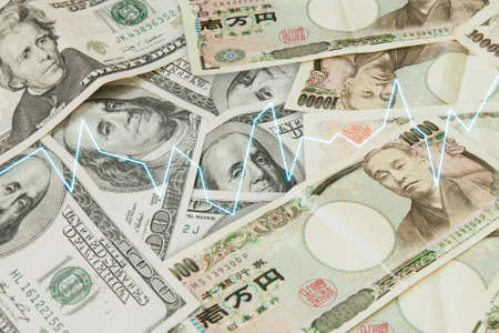 Japanese Yen and USD Dollar Bank note pile, Business and finance concept Stock Photo