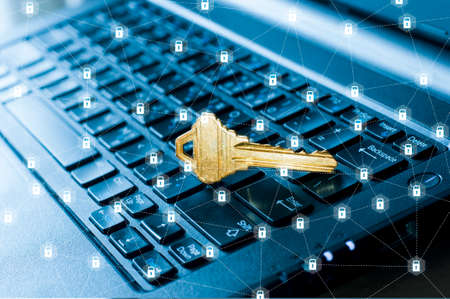 Access key of security in Internet on computer laptop with lock icon network connection in security and Information technology concept Stock Photo