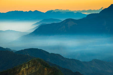 Alishan Mountains National Park Scenic Sunrise with mist and cloud of sea Landscape at Taiwan
