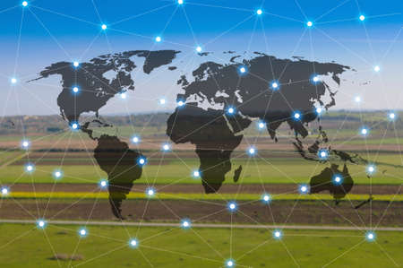World international map connection connect network with blurred distribution logistic cargo warehouse background, Transportation and business concept Фото со стока