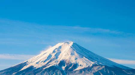 The peak of Fuji mountain in winter season, Japan Stock Photo